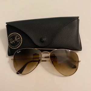 RAY BAN BROWN/GOLD AVIATOR GRADIENT